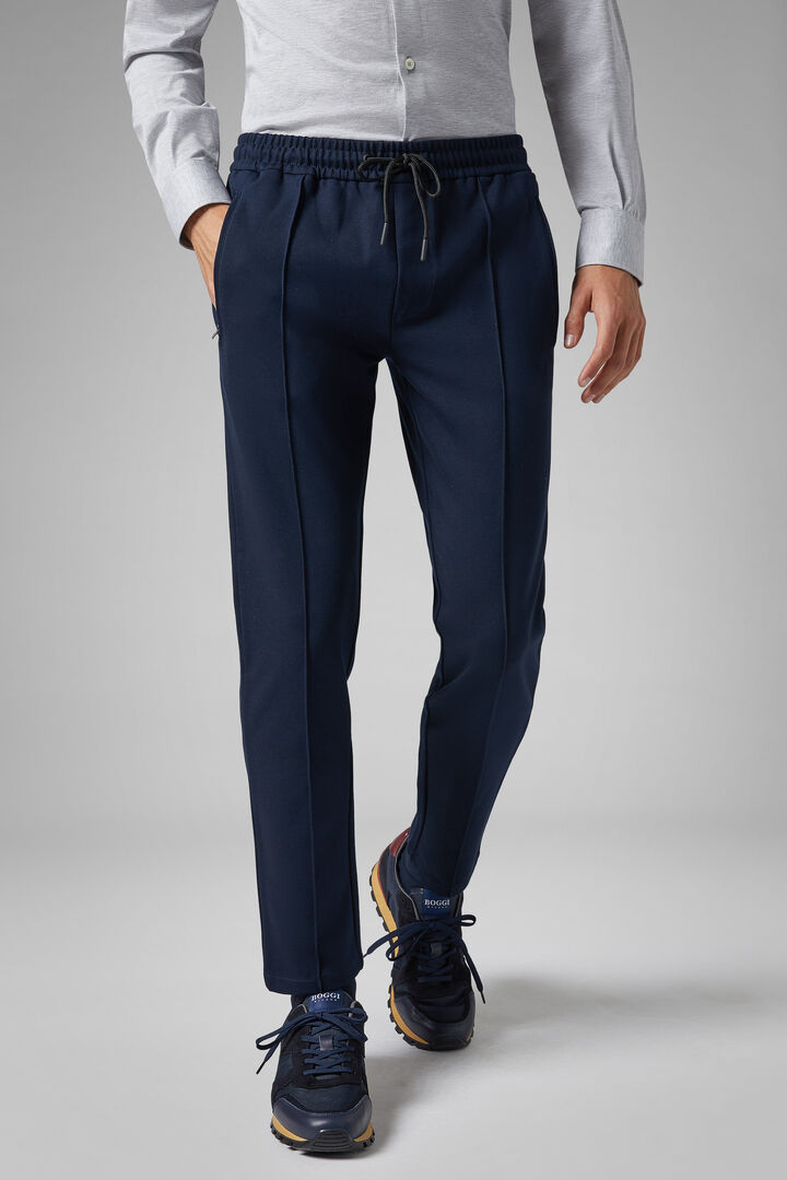 Panta Tuta Coulisse In Misto Cotone Slim, Navy, hi-res