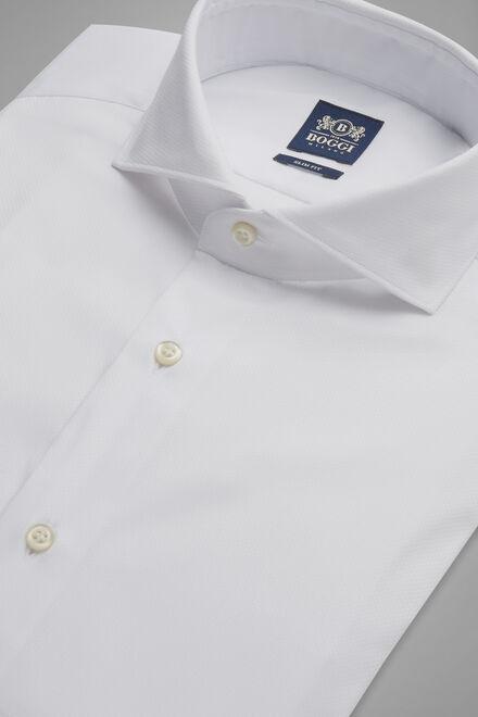 Hemd Weiss Mit Napoli-Kragen Slim Fit, Weiß, hi-res
