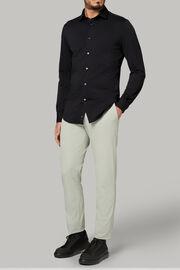 Polohemd aus stretch-nylon-piqué slim fit, Schwarz, hi-res