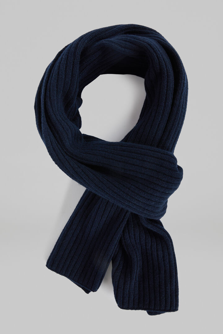Ribbed Pure Cashmere Scarf, Navy blue, hi-res