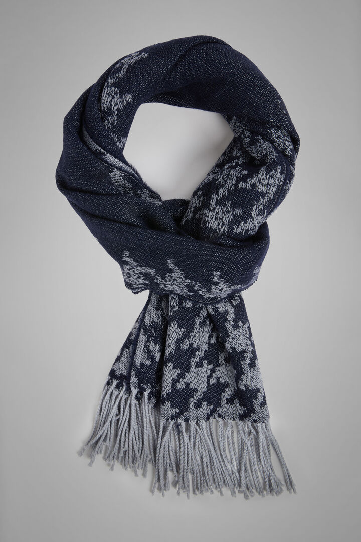 Gradient Houndstooth Wool Scarf, Blue - Grey, hi-res