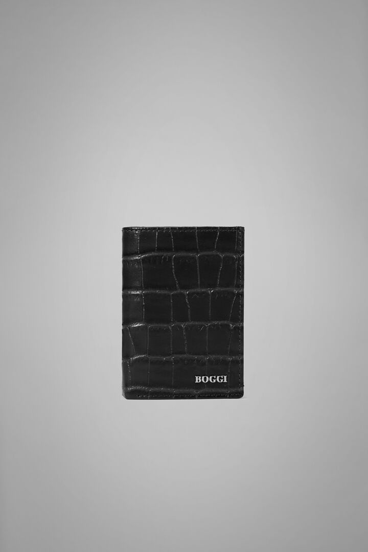 Faux Croc Foldover Card Holder, Black, hi-res