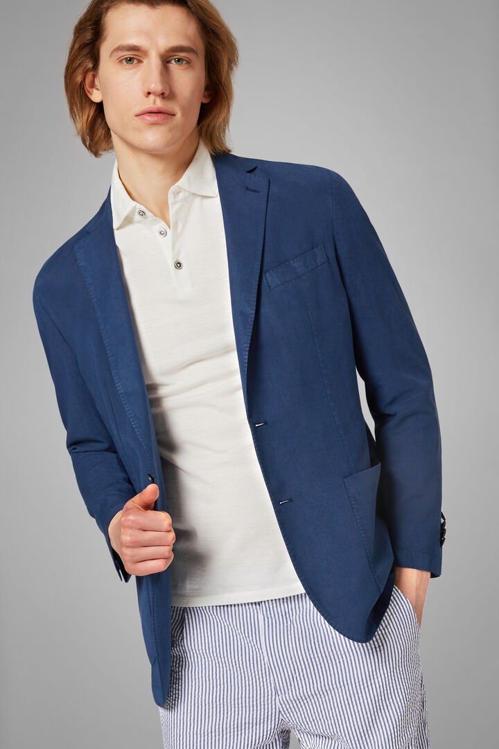 Blazer Blu Brescia In Lino Tencel, Blu, hi-res
