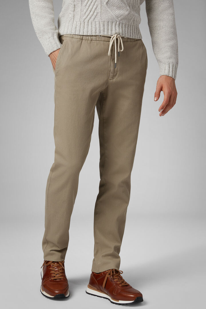 Stretch Cotton Trousers With Drawstring, Sand, hi-res