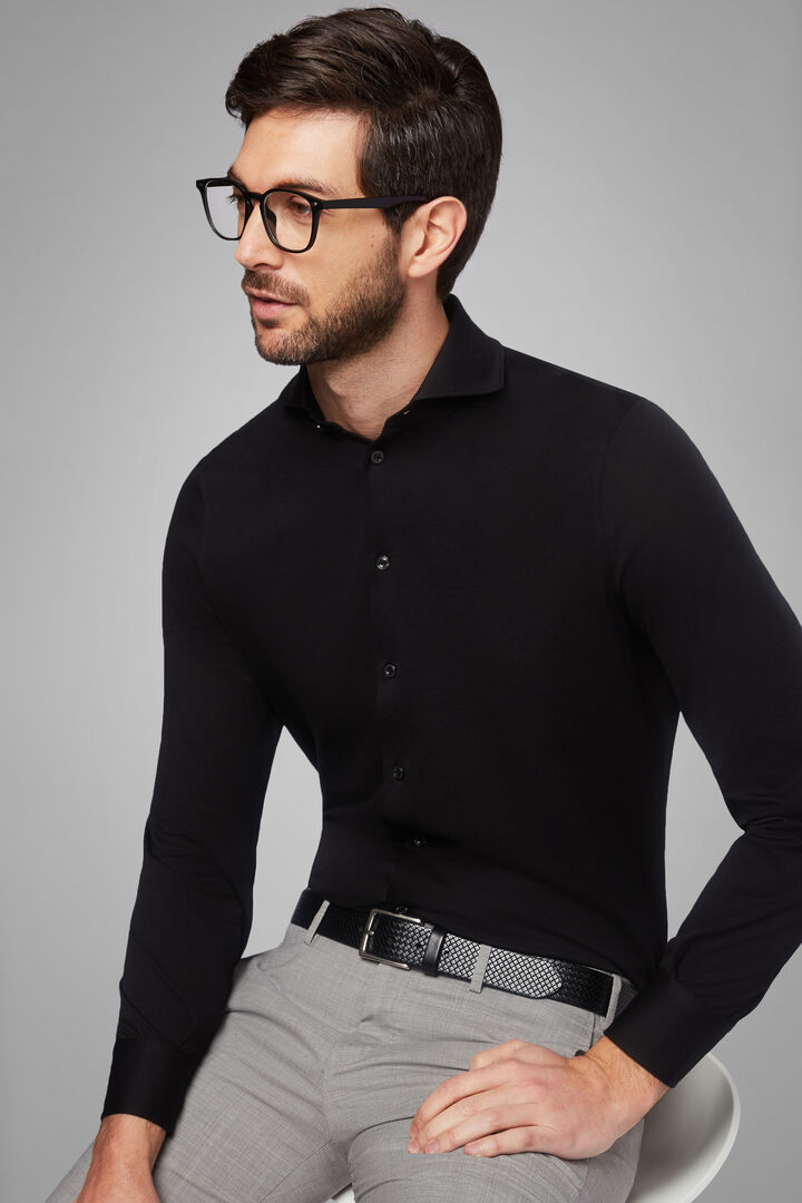 Slim Fit Black Casual Shirt With Open Collar, Black, hi-res