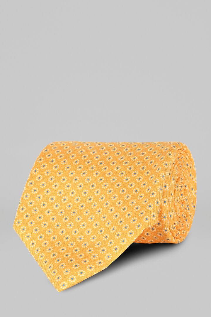 Cravate 5 Plis À Motifs Floraux Imprimé, Jaune, hi-res