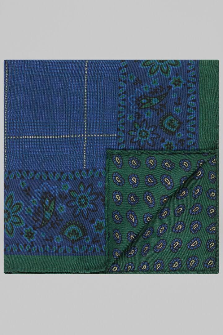 Pochette Fleur Et Cachemire Double Imprimé En Soie, Bleu vert, hi-res