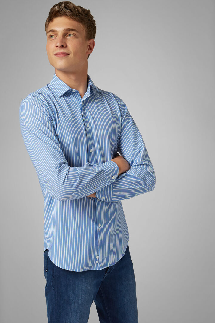 Slim Fit Sky Blue Printed Shirt With Tokyo Collar, Light blue, hi-res