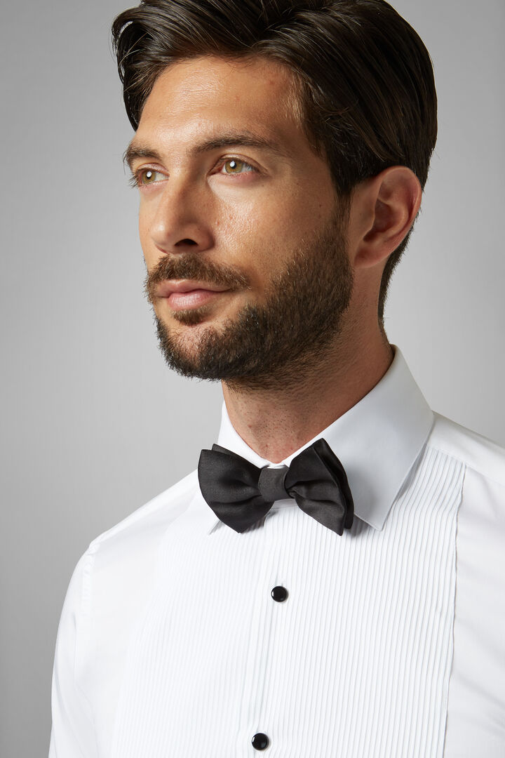 Black Pure Silk Pre-Tied Bow Tie, Black, hi-res