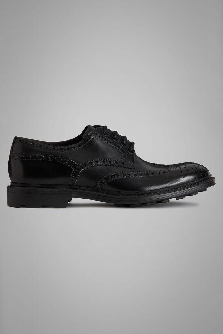 Derby-Schuhe Aus Kalbsleder Mit Schwalbenschwanz-Verarbeitung, Schwarz, hi-res