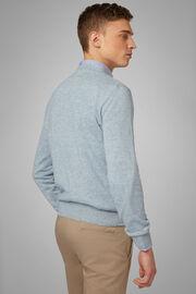 Pullover Mit Rundhalsausschnitt Aus Leinen Und Kaschmir, Hellblau, hi-res
