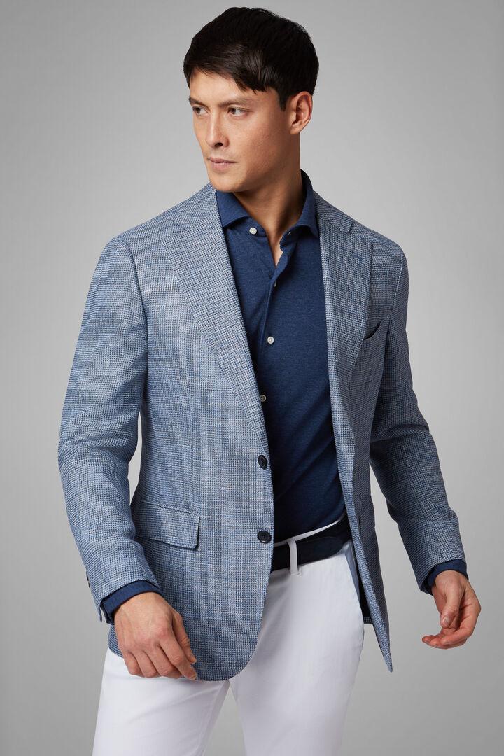 Blue Wool/Silk/Linen Napoli Blazer, Blue, hi-res