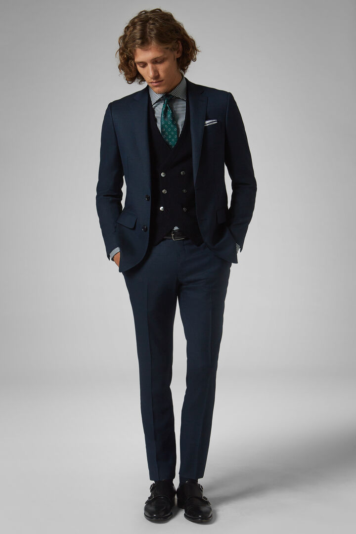 Teal Wool Anversa Suit, Teal, hi-res