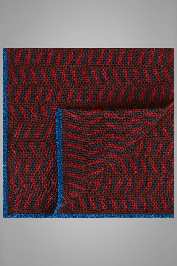 Herringbone Print Wool/Silk Pocket Square, Burgundy, hi-res