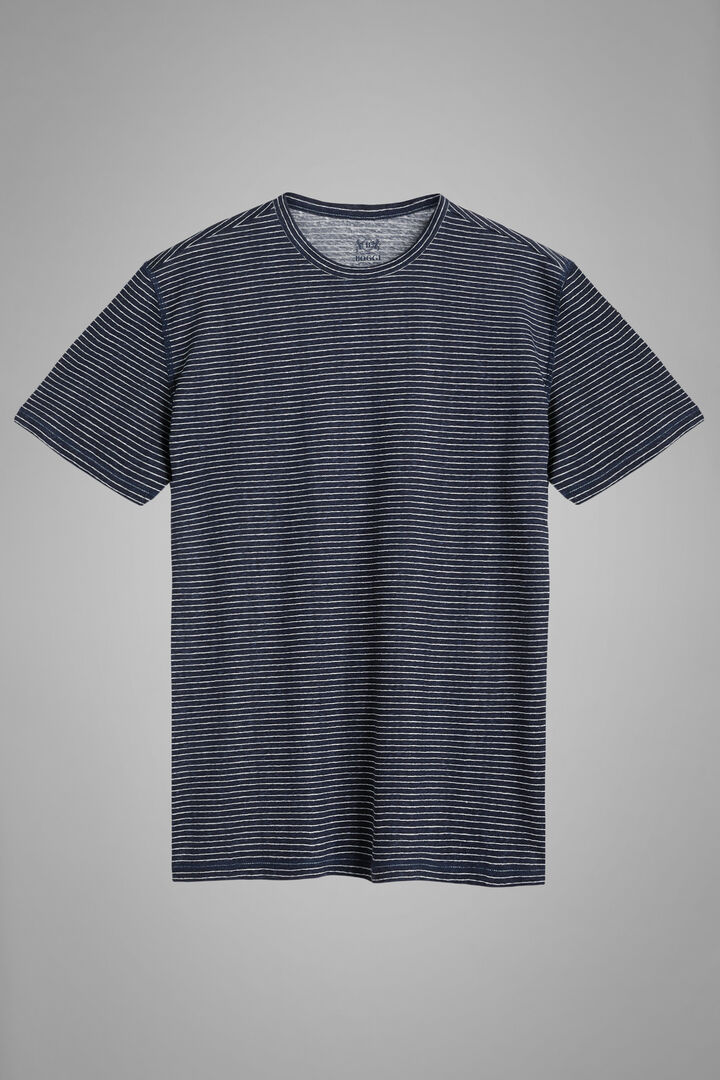 T-Shirt Bianca In Jersey Di Lino Stretch, Navy, hi-res