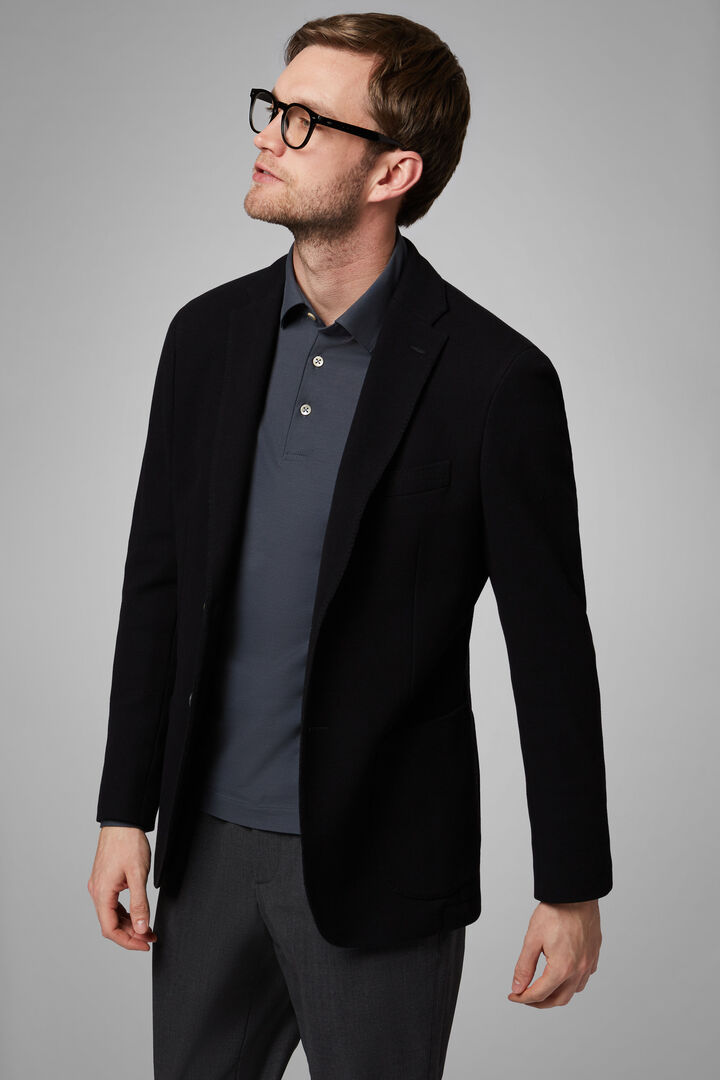 Black Cotton Crepe Jersey Bari Blazer, Black, hi-res