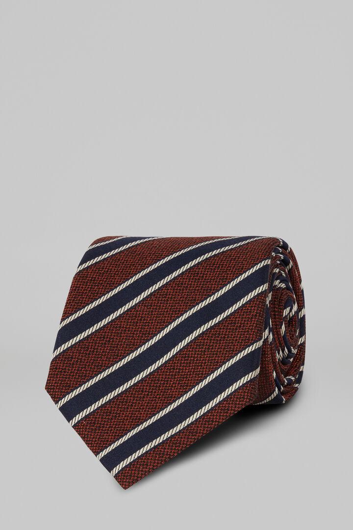 Regimental Silk/Cotton Jacquard Tie, Burnt, hi-res