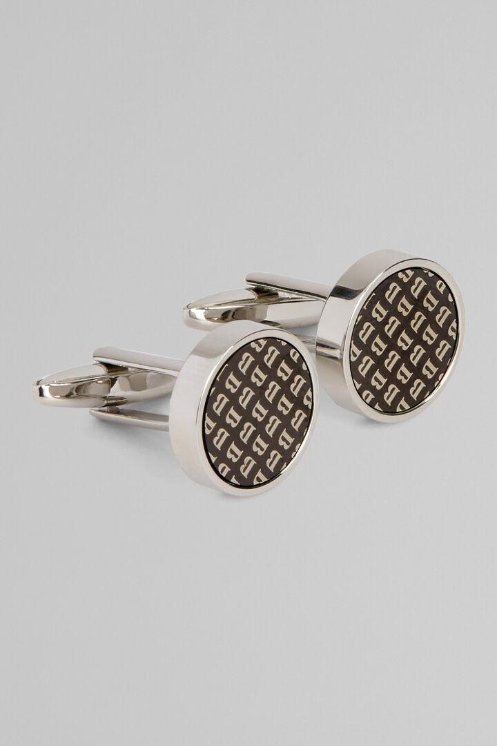 Runde Manschetten Aus Metall Logo B, Silber, hi-res