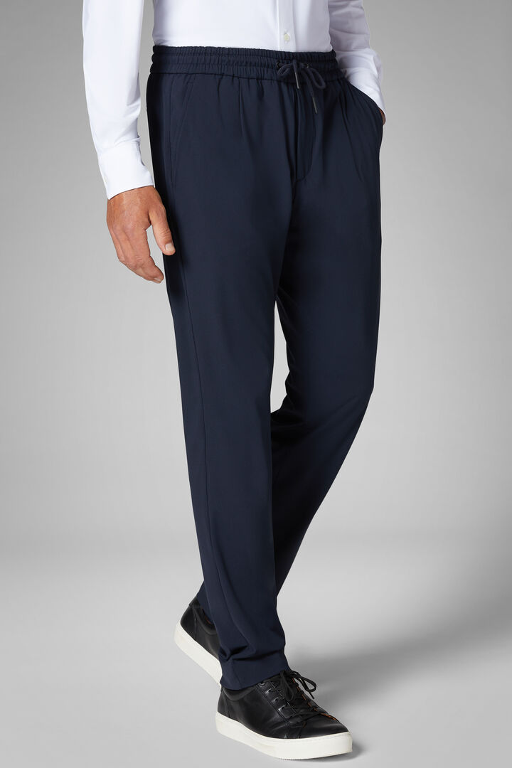 Pantalone In Jersey Tecnico Con Coulisse Regular, Navy, hi-res