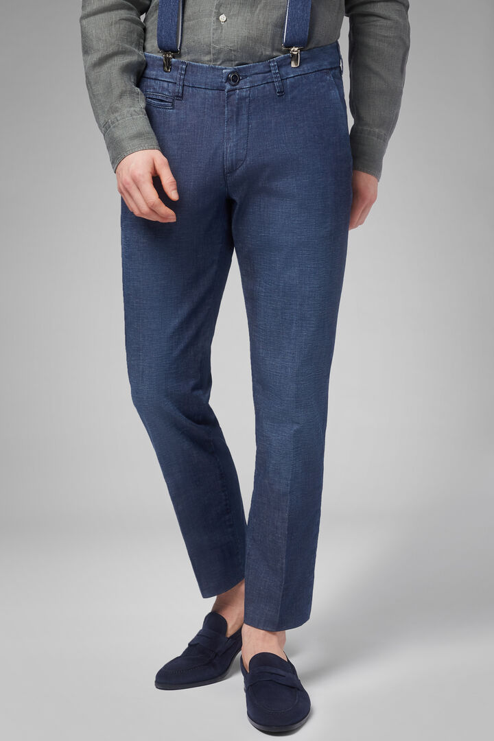 Pantalón Denim Slim Fit Ligero Con Lavado Medio, Índigo, hi-res