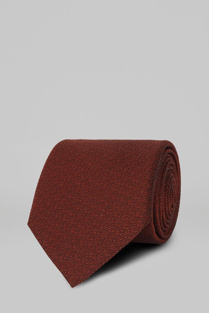 Cravatta Unita In Seta Cotone Jacquard, Bruciato, hi-res
