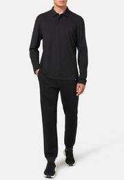 Poloshirt aus baumwolle und tencel regular fit lange ärmel, Schwarz, hi-res