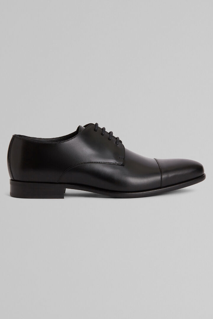 Smooth Leather Derby Shoes With Rubber Soles, Black, hi-res