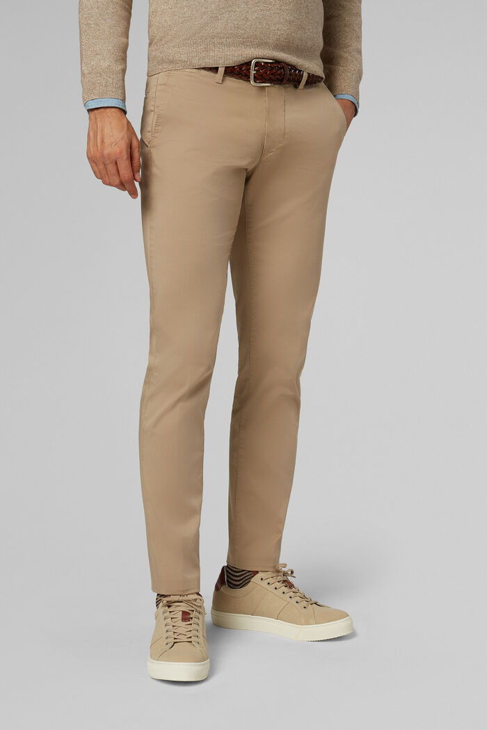SLIM FIT STRETCH COTTON SATIN TROUSERS, , hi-res