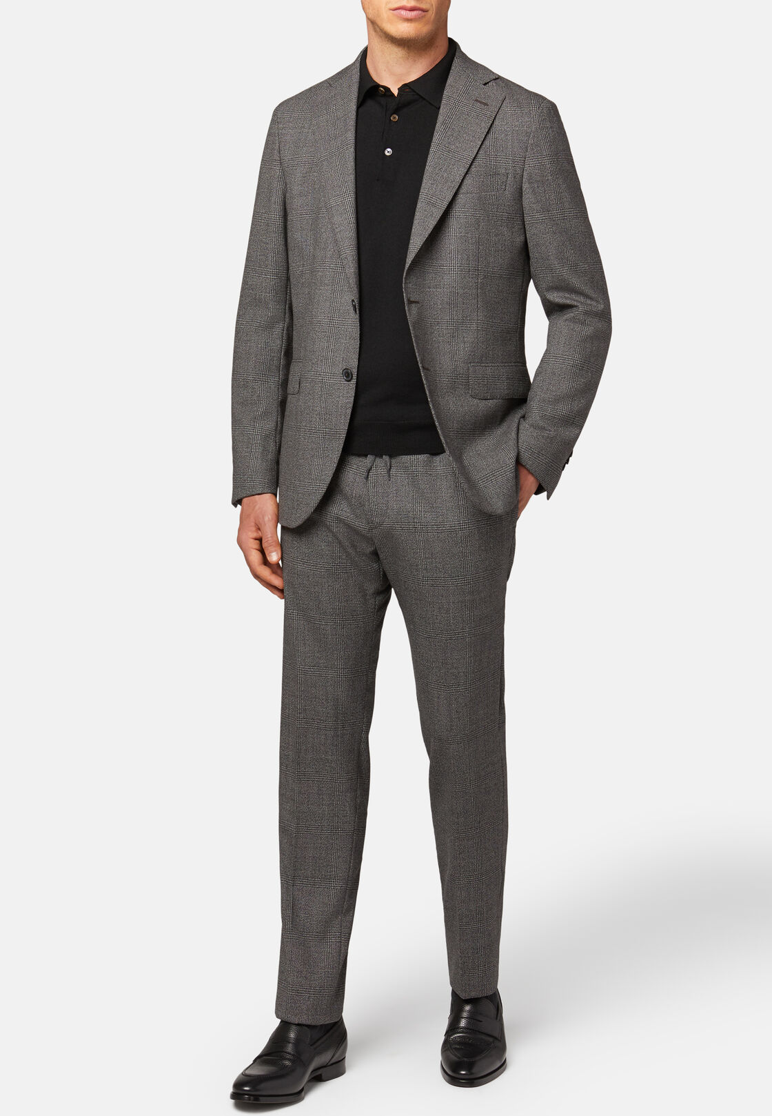 Grauer anzug mit prince of wales-karos aus travel-wolle, Grau, hi-res