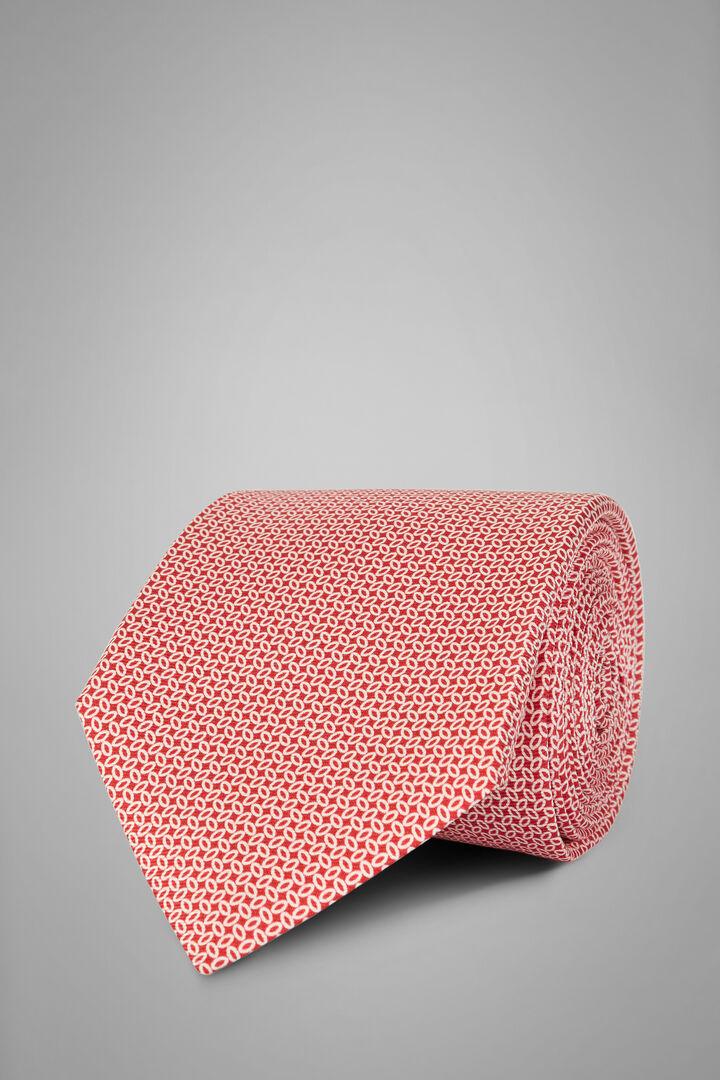 Micro Patterned Printed Silk Tie, Red, hi-res