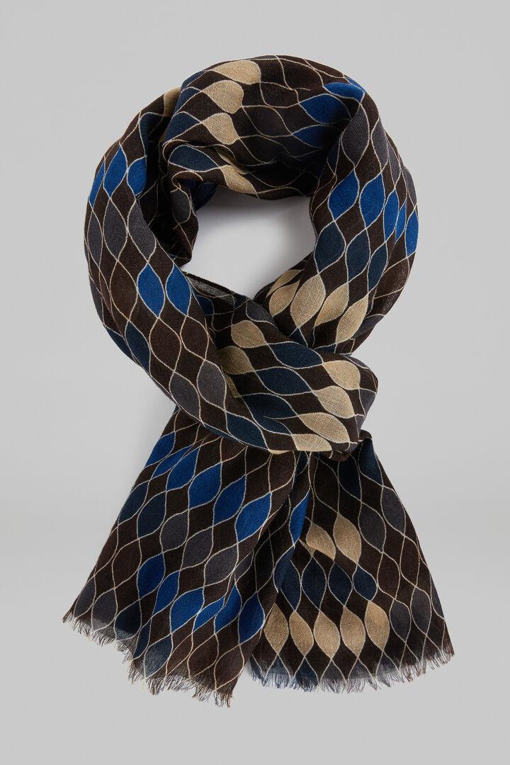 Geometric Print Wool Scarf, Dark brown, hi-res