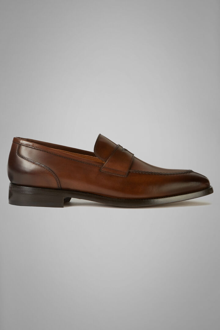 Smooth Leather Loafers, Dark brown, hi-res