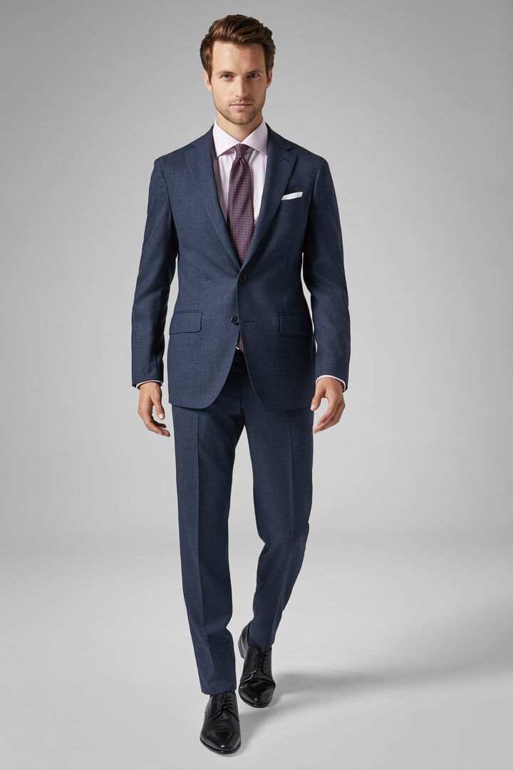 Blue Wool Mantova Suit, Blue, hi-res