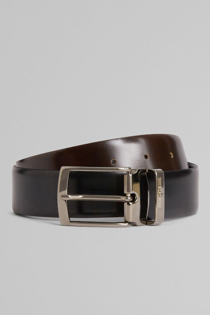 Reversible Glossy Leather Belt, Black - Dark brown, hi-res