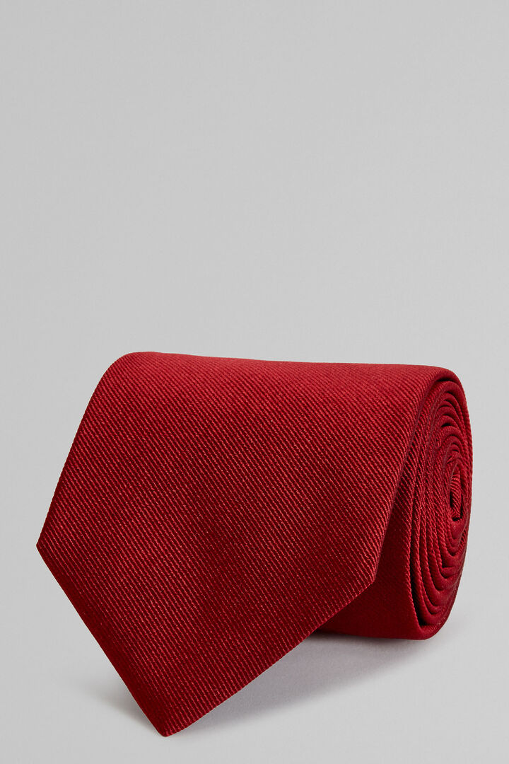 Burgundy Plain Silk Jacquard Tie, Burgundy, hi-res