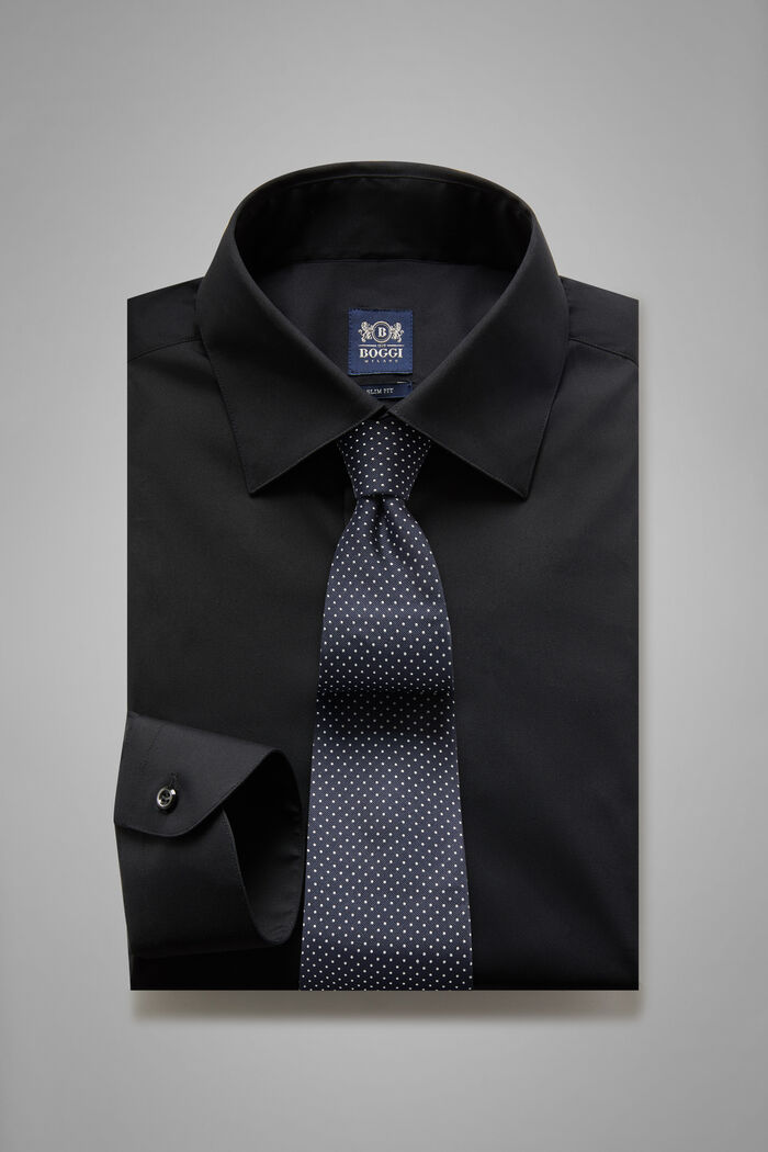 Camicia Nera Collo New York Slim Fit, , hi-res