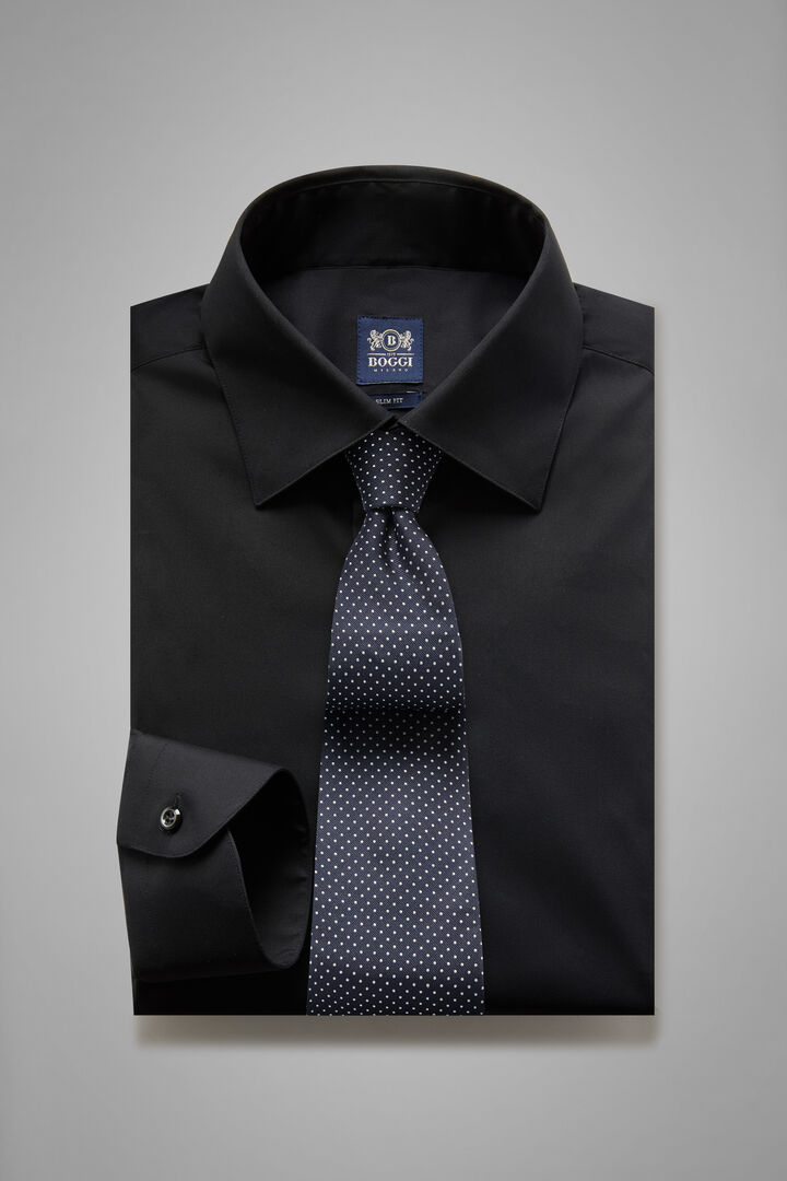 Camicia Nera Collo New York Slim Fit, Nero, hi-res