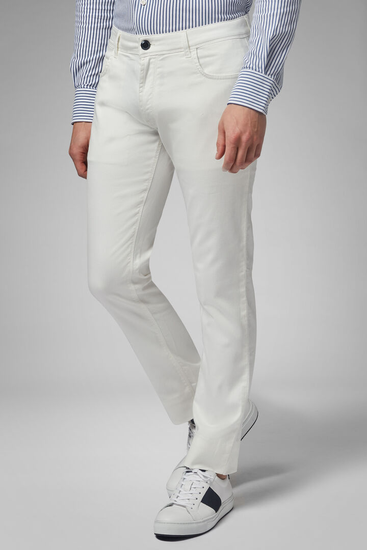 Pantalone 5 Tasche In Cotone Gabardina Tencel Regualr Fit, Bianco, hi-res