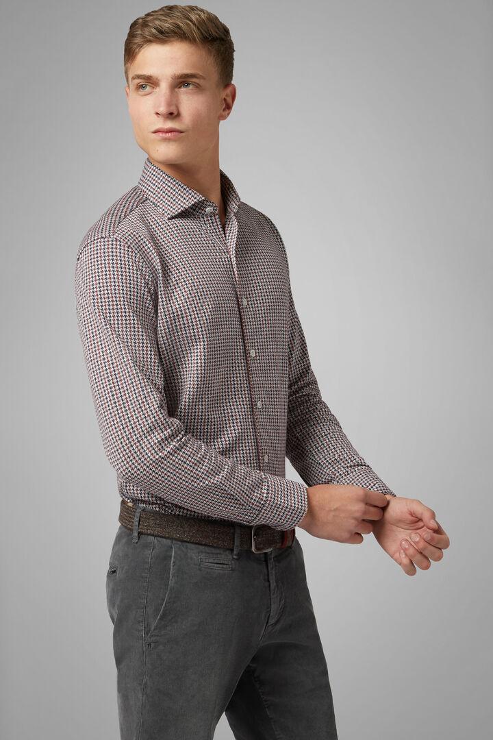 Regular Fit Navy/Burgundy Casual Shirt With Closed Collar, Navy - Burgundy, hi-res
