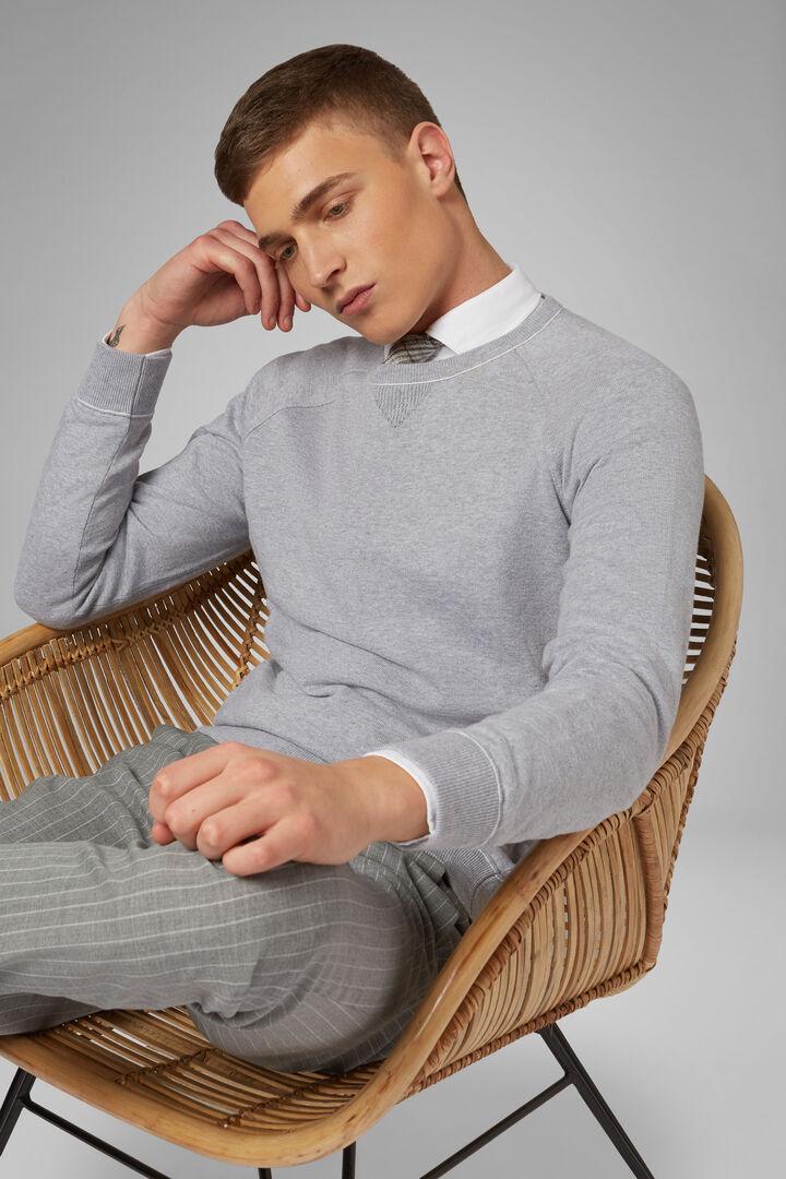Round Neck Cotton Sweatshirt, Grey, hi-res