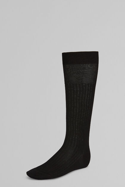 Calcetines Largos Con Canalé Fino, Negro, hi-res