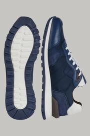 Naturweisse sneakers aus technischem stoff und leder, Navy blau, hi-res
