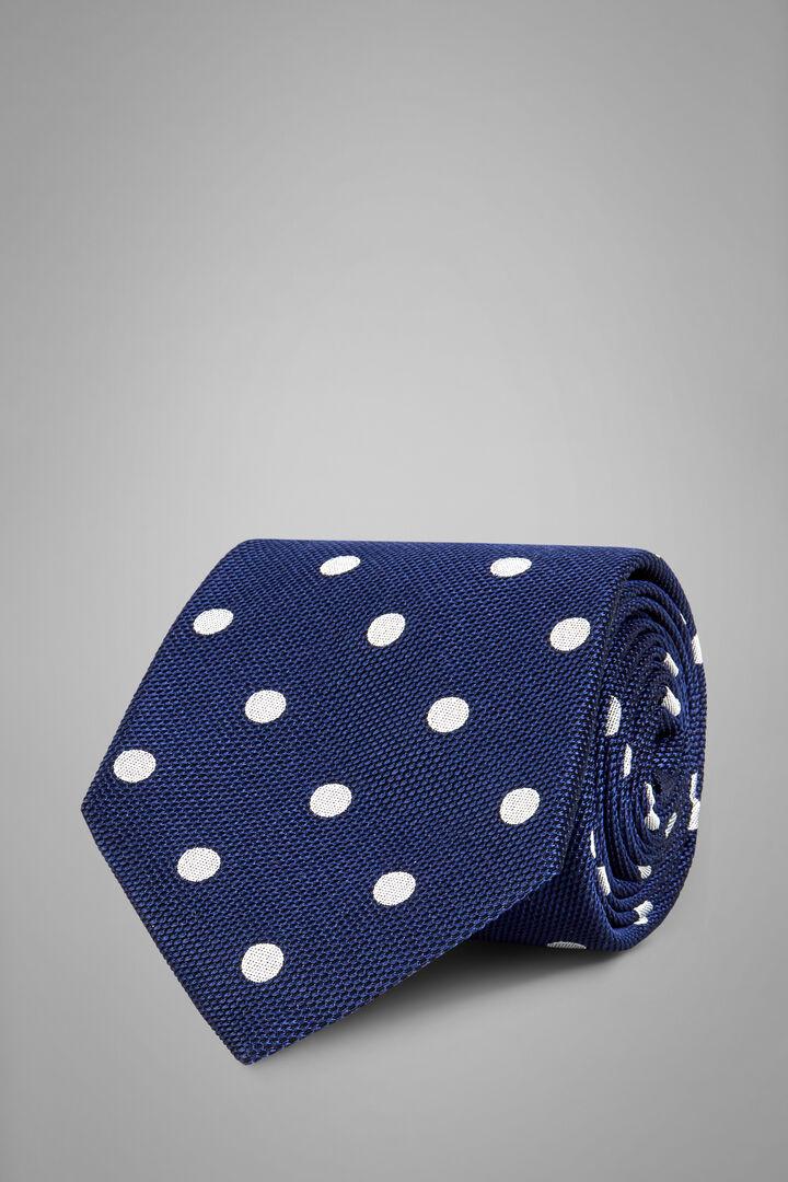 Cravatta Pois In Seta Cotone Jacquard, Blu - Bianco, hi-res