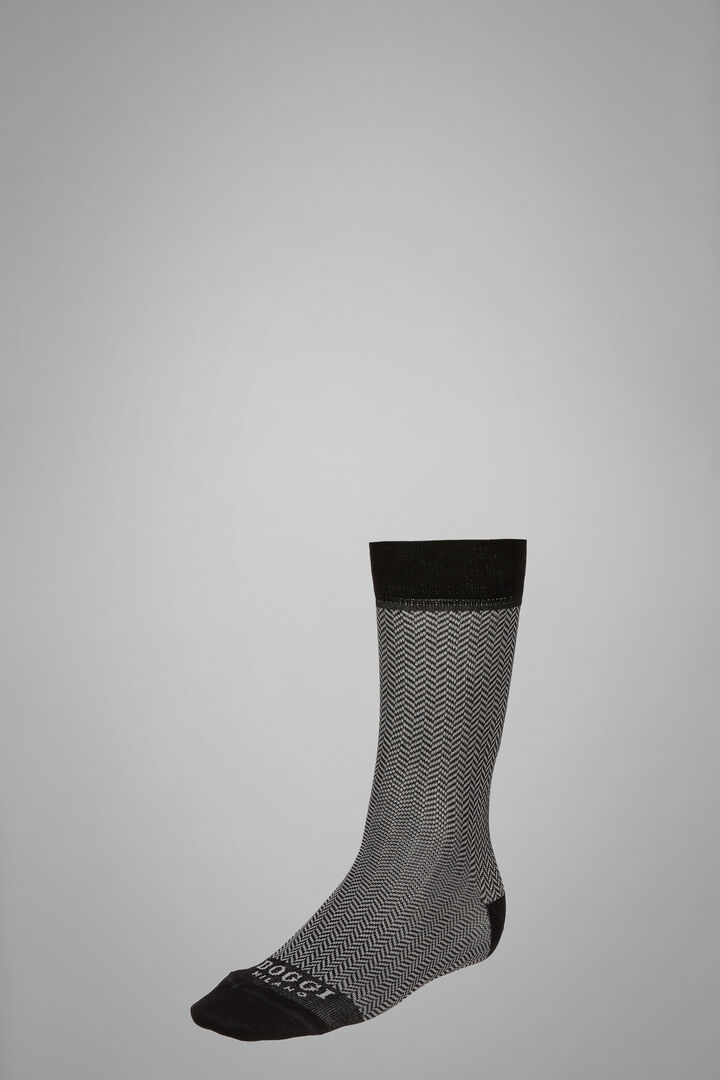 Short Socks With Micro Herringbone Motif, Black - Grey, hi-res