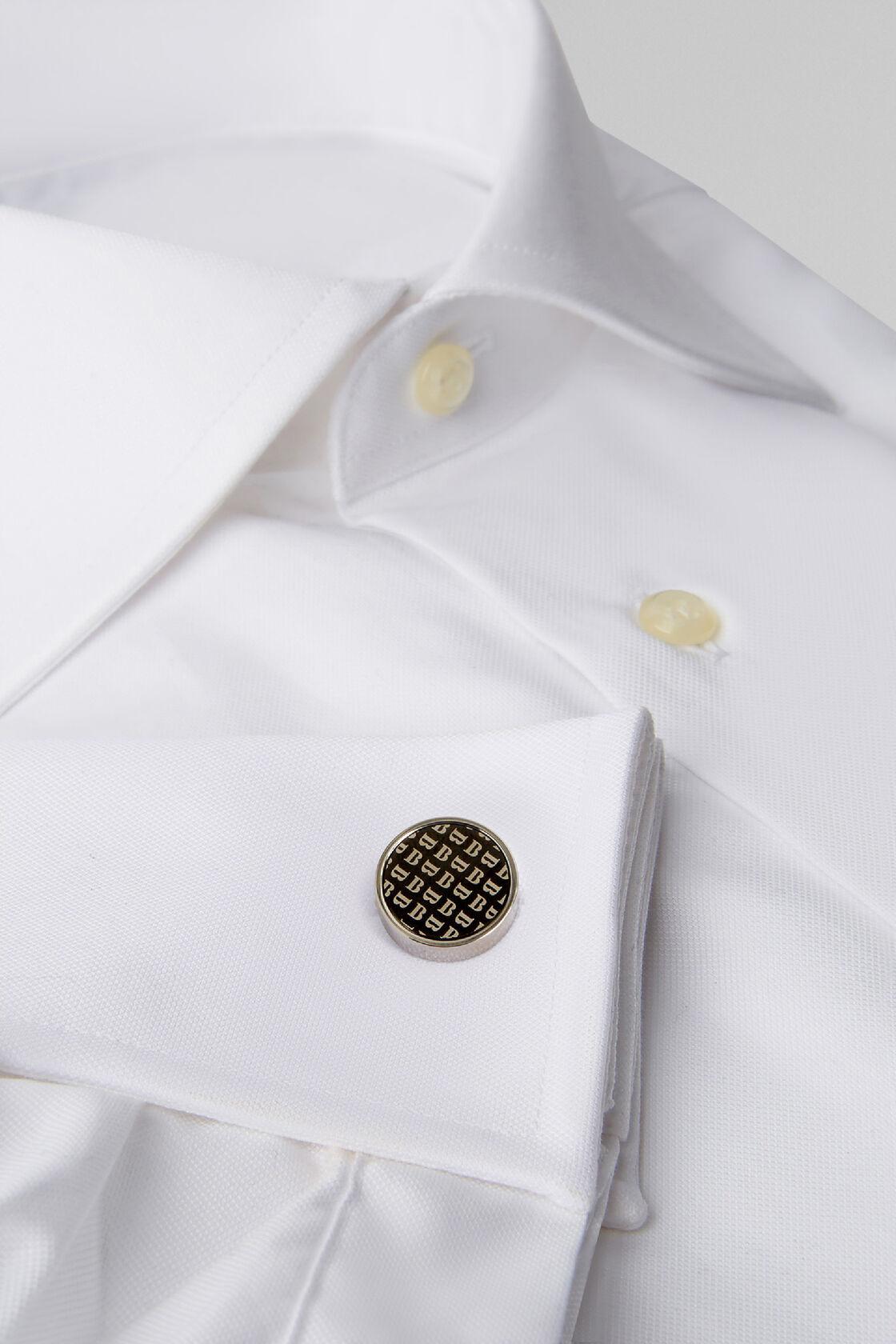 Runde manschettenknöpfe mit logodruck, Silber, hi-res