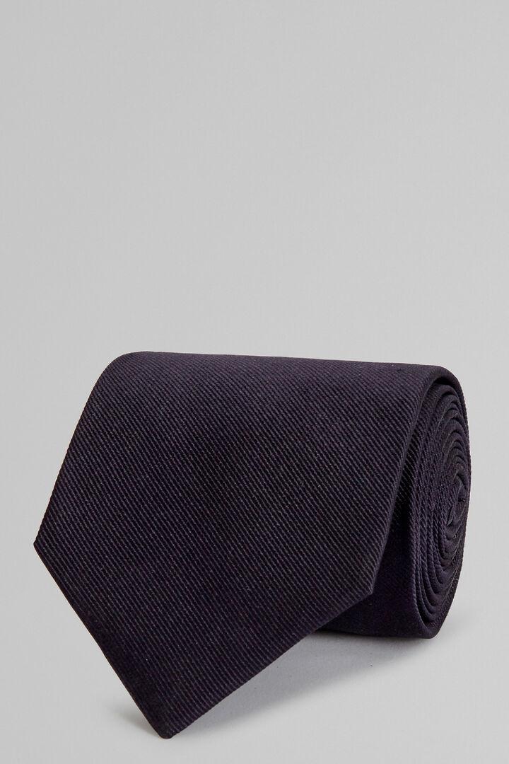 Navy Plain Silk Jacquard Tie, Blue, hi-res