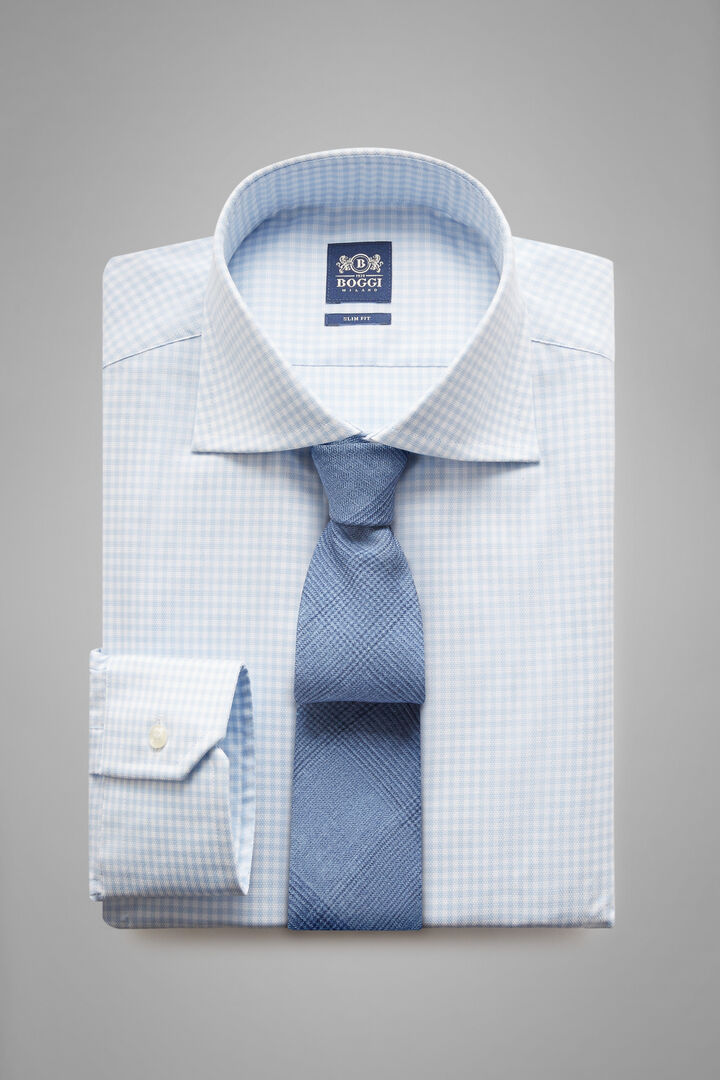 Slim Fit Sky Blue Checked Shirt With Windsor Collar, Light blue, hi-res