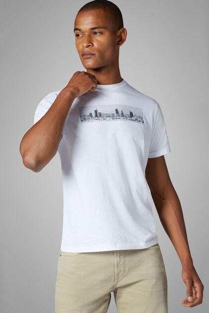 T-Shirt Blanc En Coton Mélangé, blanc, hi-res