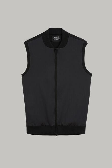 Schwarze strickweste aus wolle und technischem jersey, Schwarz, hi-res