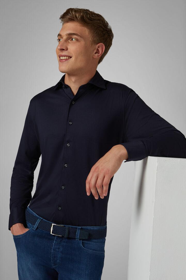 Chemise Polo Bleu À Col Fermé Coupe Ajustée, bleu marin, hi-res